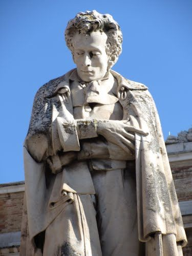 Monument to Giacomo Leopardi, June 29, 1798 – June 14, 1837) was an Italian poet, essayist, philosopher, and philologist. Although he lived in a secluded town in the ultra-conservative Papal States, he came in touch with the main thoughts of the Enlightenment, and, by his own literary evolution, created a remarkable and renowned poetic work, related to the Romantic era.