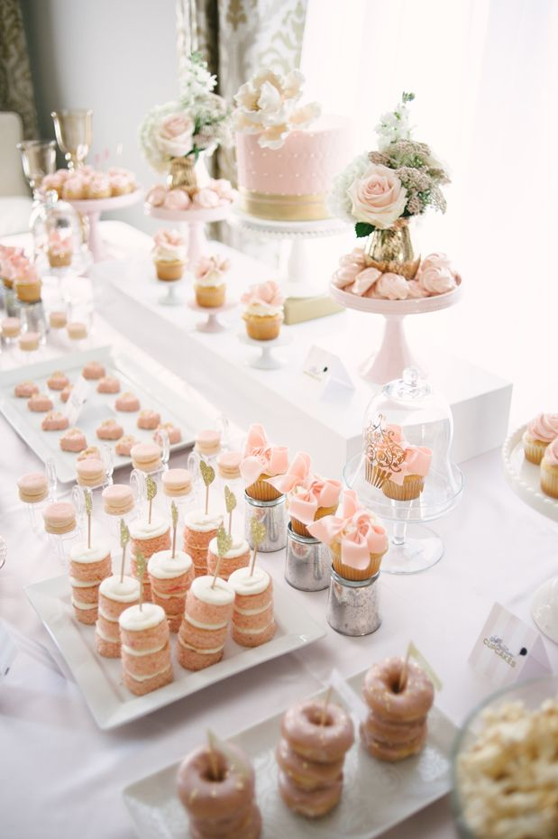 Blush and gold baby shower. Cake and cupcakes by Truffle Cake & Pastry. Photo by Heidi Lau Photography (via Grey Likes Baby).