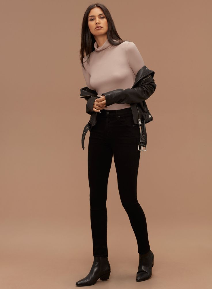 Talula HACKNEY T-SHIRT | Aritzia turtle neck top; leather jacket;