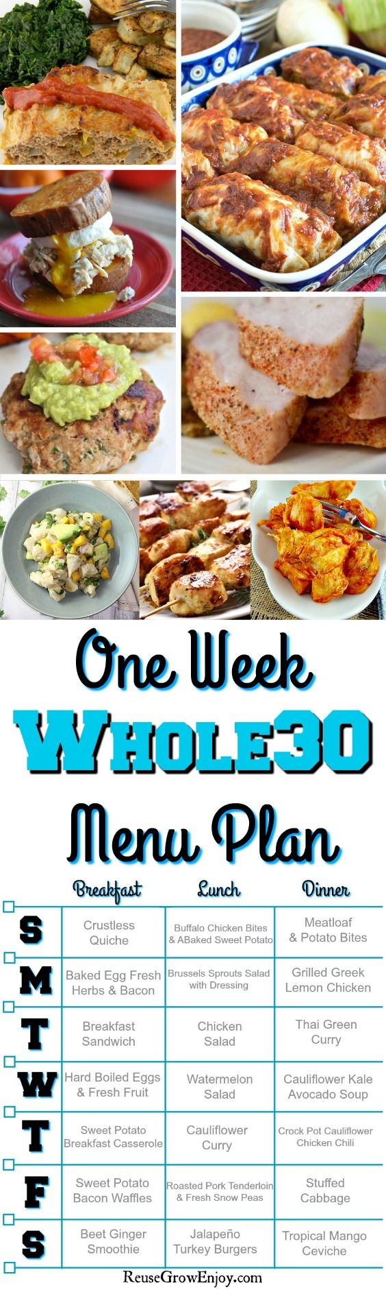 Are you wanting to do the Whole30 diet? Not sure what to eat? We have a printable Whole30 Menu Plan for a week. Plus all the links to the great Whole30 recipes on the plan!