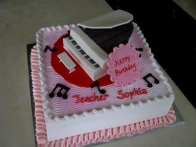 3D Piano Cake: I made the 3D piano a week in advance using pastillage fondant. Every part of the piano is hand cut out and join together.  Then on the day of the birthday