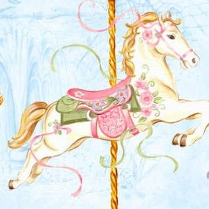 Wilmington Prints - Carousel Dreams Horses Prancing - cotton fabric
