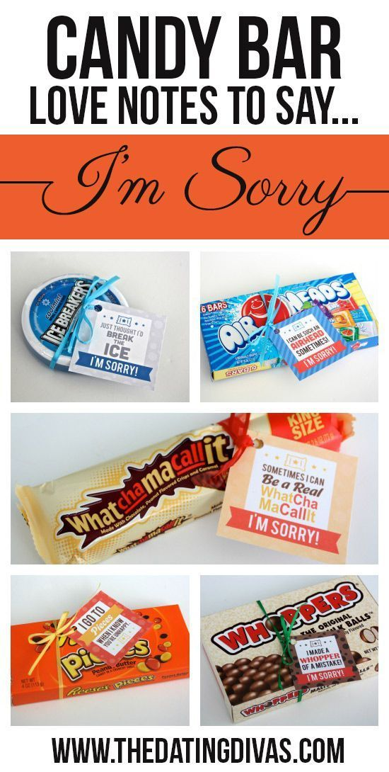 Free printable candy bar gift tags! The perfect apology gift. www.TheDatingDivas.com