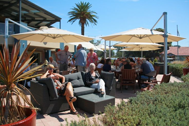 The outdoor terrace overlooks the course. The perfect place on a beautiful sunny day