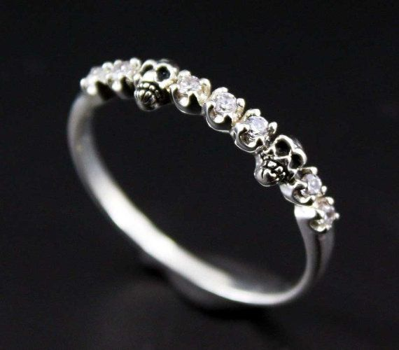 Gothic Woman's Sterling Silver Skull Ring