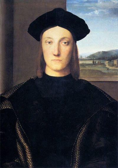 Raffaello Santi, Guidobaldo di Montefeltro,  1504 - 1505, olio su tavola , originariamente Palazzo ducale di Urbino, ora Galleria degli Uffizi (Firenze).