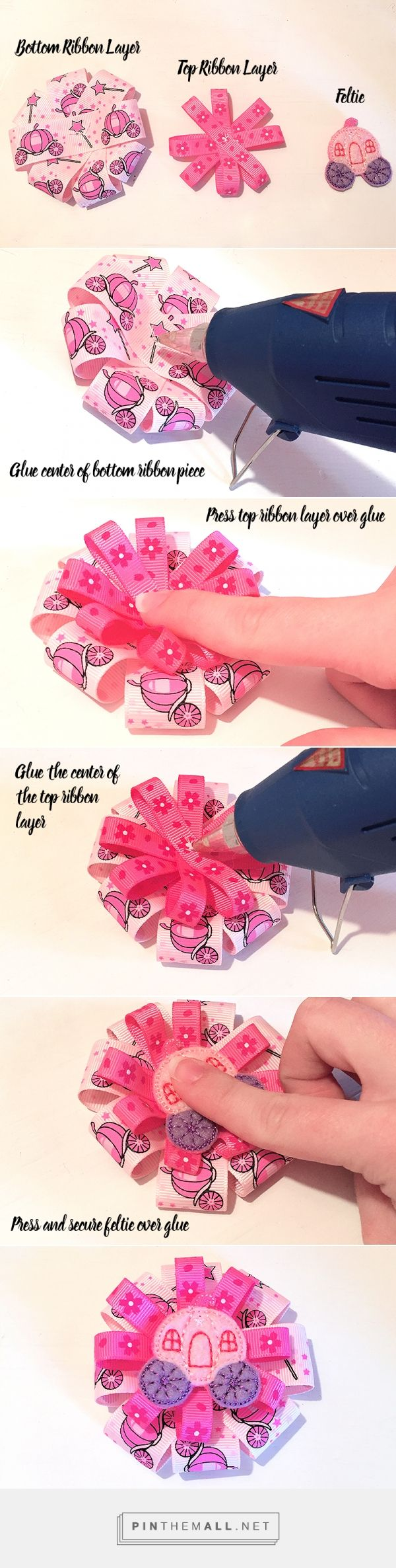 How to make a ribbon hair bow with a machine embroidered feltie - fast and easy DIY cute bow crafting!