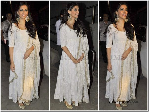 Sonam Kapoor in Chikankari Lucknow Anarkali in Pure Georgette