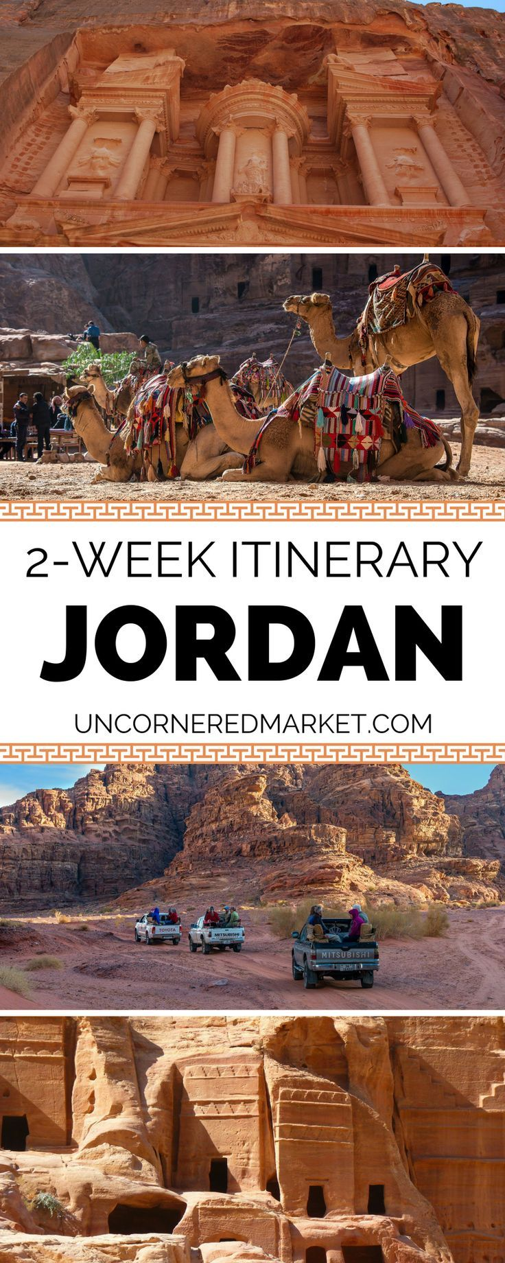 A 2-week itinerary to exploring Jordan. Best things to do and see including Petra, Wadi Rum, the Dead Sea, the capital city of Amman, the diving mecca of Aqaba + so much more. Travel in the Middle East. | Uncornered Market Travel Blog