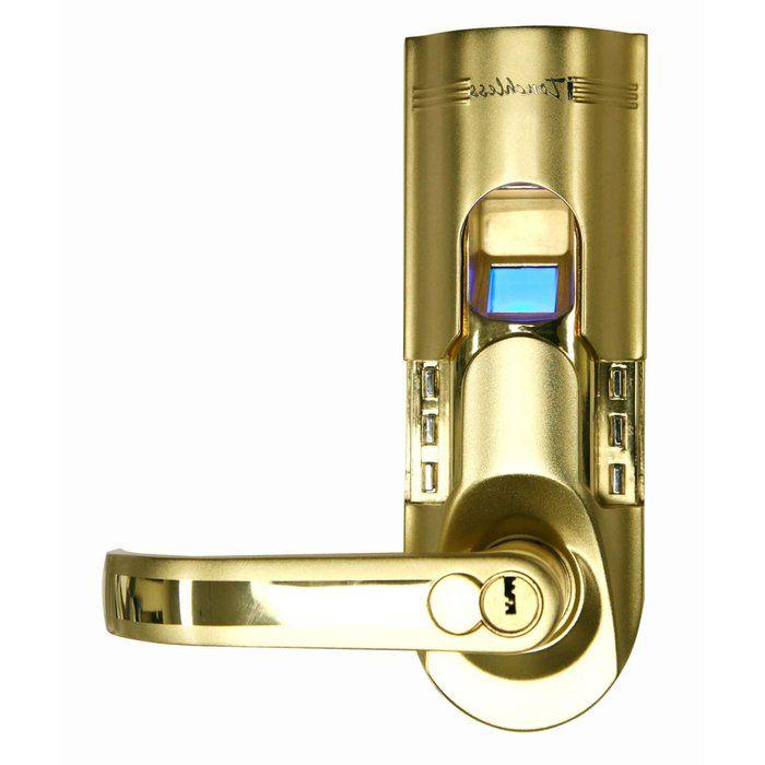 itouchless bio matic fingerprint door lock gold biometric security future home - Biometric Door Lock