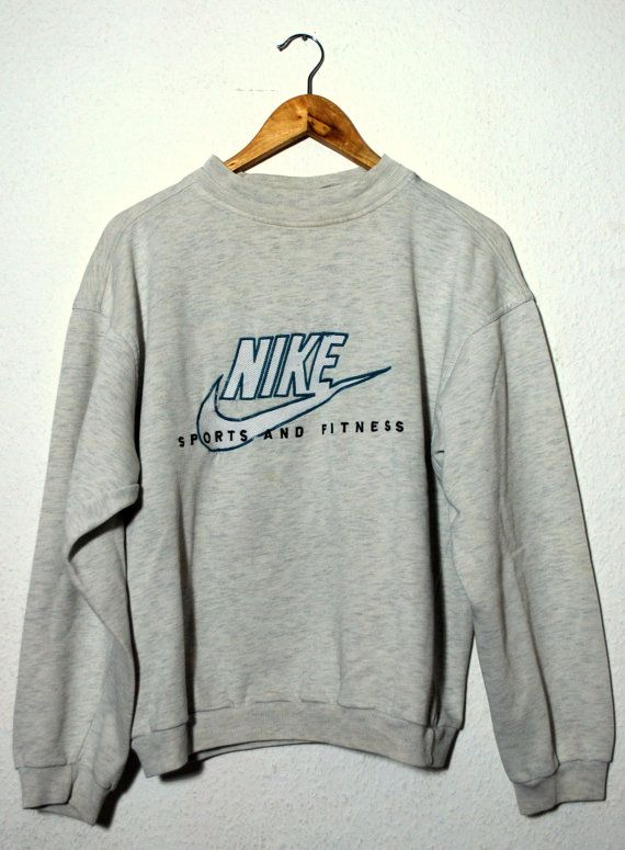 "Vintage 90s Sweater NIKE ""Sport And Fitness""                                                                                                                                                                                 Plus"