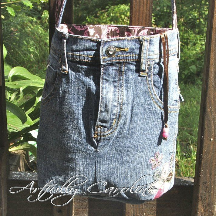 Find Kids blue jean shorts, put an ice cream pail (or a pail that fits) inside, use as planter.