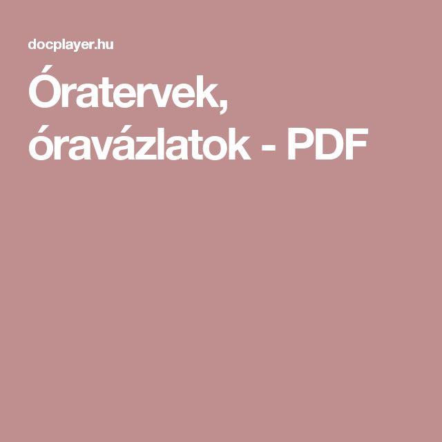 Óratervek, óravázlatok - PDF