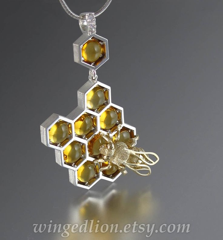 SWEETER THAN HONEY silver and 14k gold honeycomb and bee pendant with citrine and white sapphires - Ready to ship by WingedLion on Etsy https://www.etsy.com/listing/243424302/sweeter-than-honey-silver-and-14k-gold