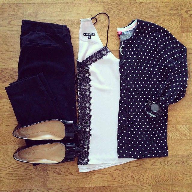 Blush Lace Tank, Polka Dot Cardigan, J.Crew Emery Bow Flats, Old Navy Pixie Pants   #workwear #officestyle #liketkit    www.liketk.it/1nFUD   IG: @whitecoatwardrobe
