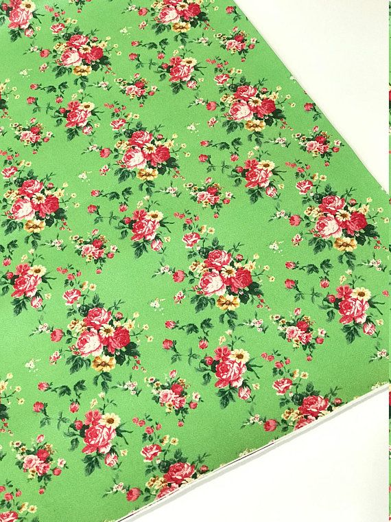 Floral Roses in Green Soft Leatherette Floral PU Leather A4