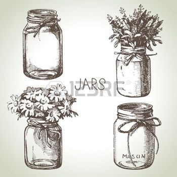 mason jar: Rustic, mason and canning jars hand drawn set. Sketch design elements. Vector illustrations Illustration