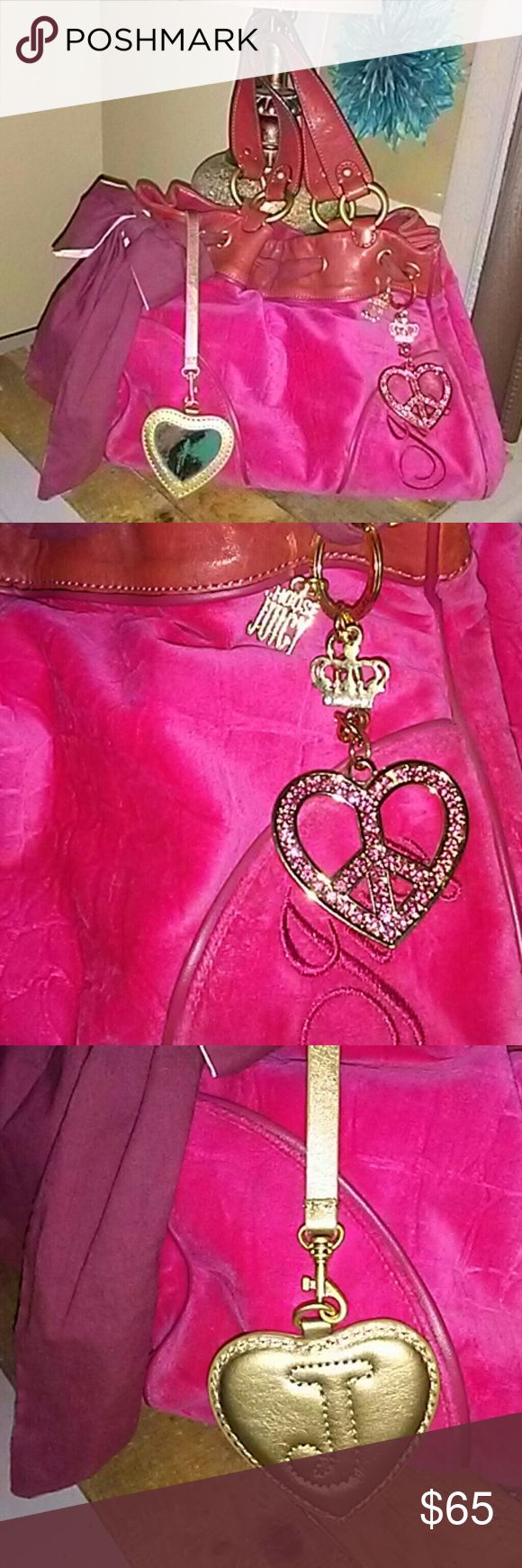 Authentic Juicy Couture Handbag Lucious. Hot Pink Velour Handbag with Brick red genuine Leather trim. Adorned with JC Gold heart crystal embellished charms. Has Leather heart shaped mirror case...the mirror is a little tarnished. The fabric bow has a stain on one of its tails. Other than that It's in very good conditions.  The bag has plenty of room for all your make up...wallet etc. Has a compartment for cell plus a zipper pocket adorned with a gold chain letter J charm. Measurements are…