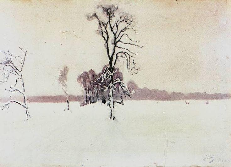 Julian Frałat Krajobraz zimowy 1891. Akwarela na papierze. 71 x 100 cm.  Muzeum Narodowe w Krakowie.