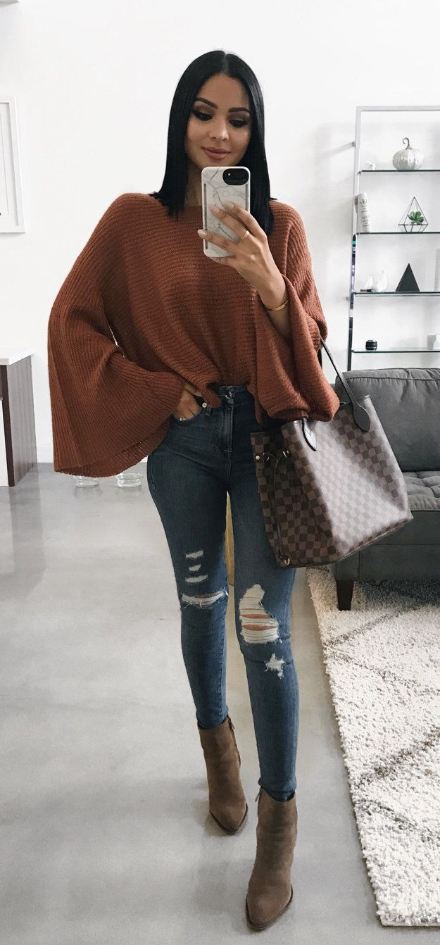 #fall #outfits women's brown long sleeve shirt and blue ragged jeans. Click To Shop This Look.