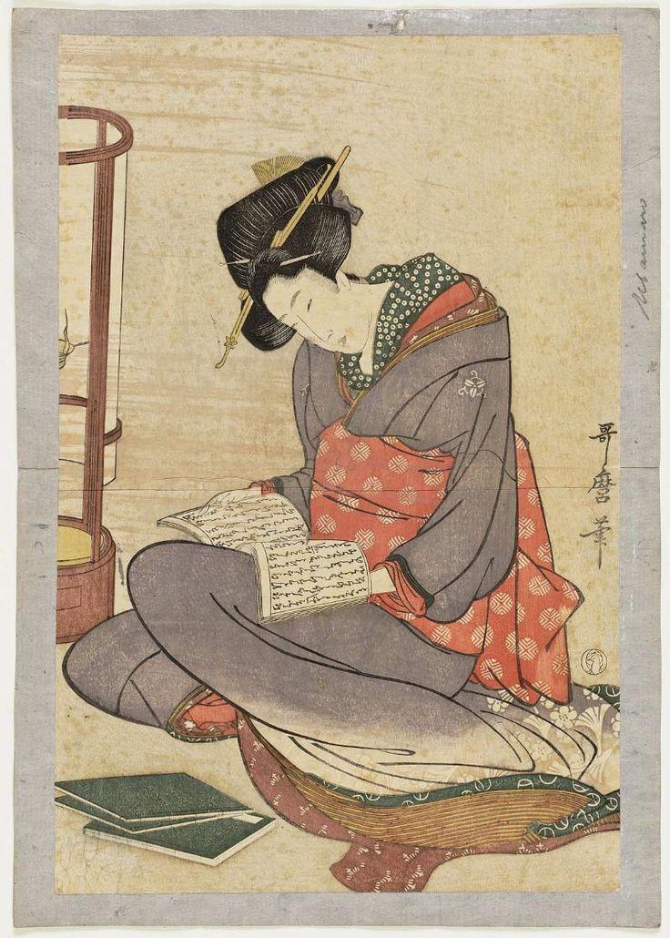 Woman reading (reproduction)JapaneseAfter Kitagawa Utamaro I, Japanese, (?)–1806