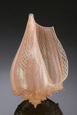 "Treg Silkwood | ""Apricot Latticino Conch Shell"""