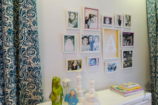 teen girl bedroom, yellow accent, green curtain, teal curtains, frame gallery, wall frames idea, decor me happy, elle uy
