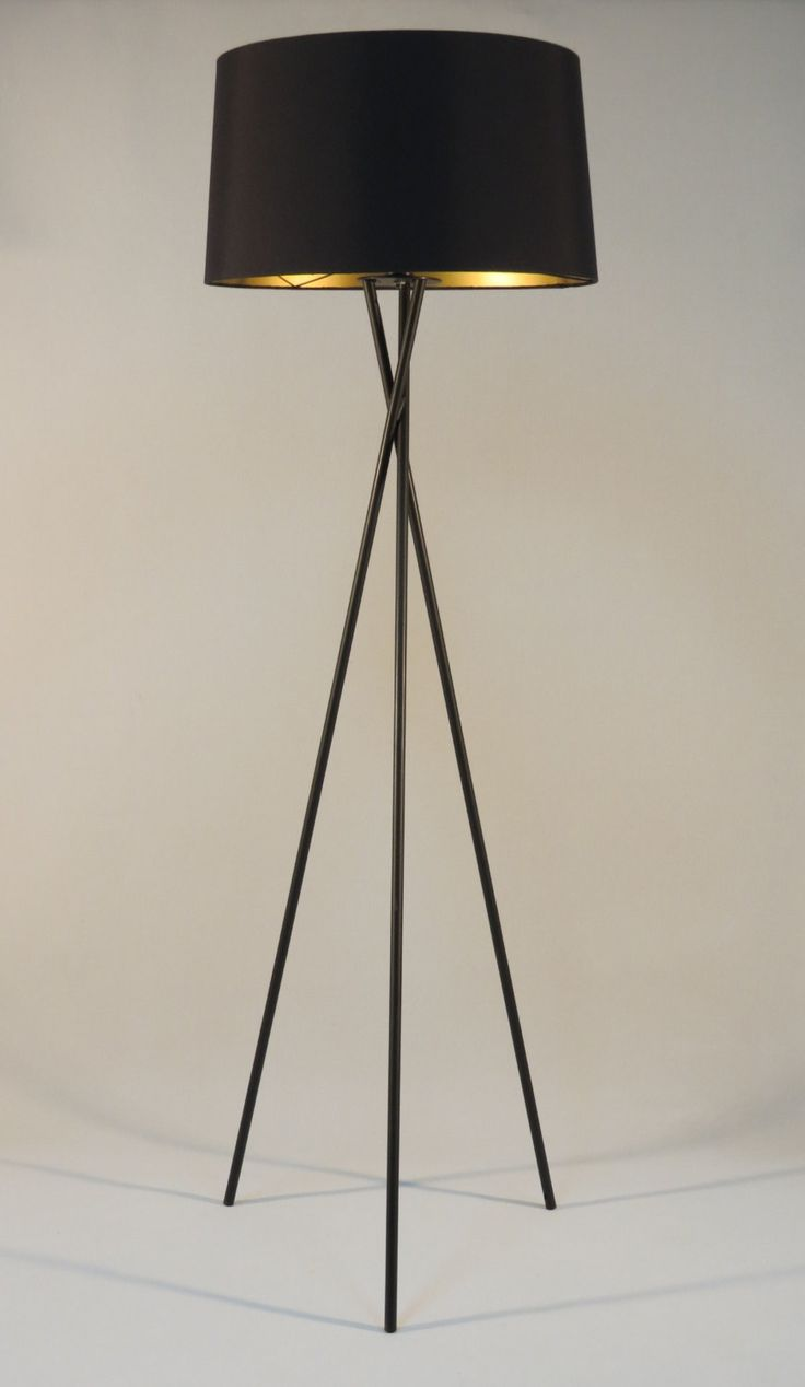 Handmade Tripod Floor Lamp With Black Colored Metal Stand