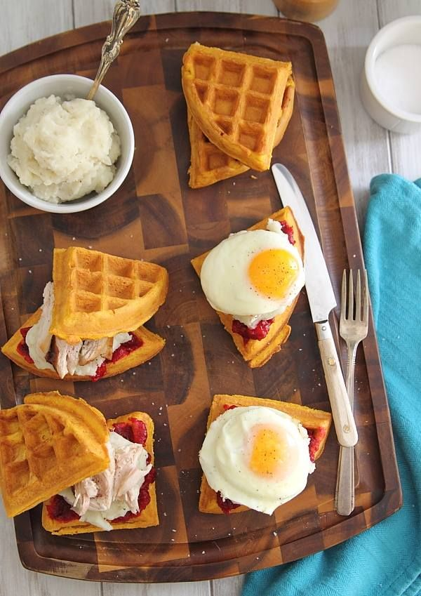 The best part of Thanksgiving is definitely the leftovers. Use up some turkey, mashed potatoes and cranberry sauce in these Thanksgiving leftover waffle breakfast sandwiches.