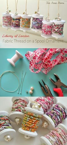 Do you want to learn how to make these cute ornaments?  I created fabric thread and wound it around a wooden spool.  This is a great project to use your scraps for!