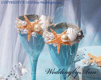 Natuurlijke Starfish bruiloft fluiten, strand bruiloft glazen bruiloft proosten bril, strand bruiloft champagne glazen, huwelijksgeschenk