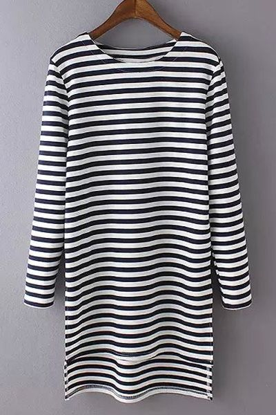 Long Sleeve Striped Side Slit T-Shirt