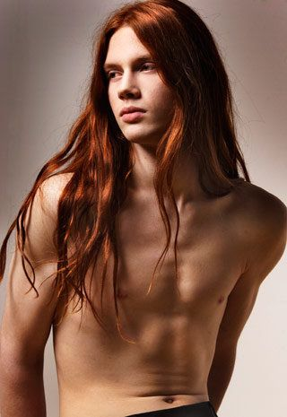 Model Bartek Borowiec and his beautiful long red hair. He is very feminine-looking, would not classify him as 'hot' but beautiful. LOOK!!