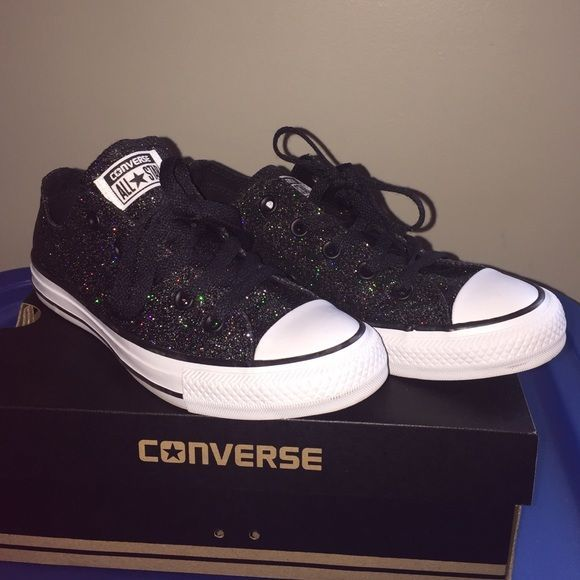Black sparkle Converse All-Stars shoes Black with rainbow sparkles. Brand new condition. Worn once for maybe 2 hours. They have just been sitting in their box. Womens size 6. Tiny scuff on sole of shoe. Cute and comfortable! Converse Shoes Sneakers