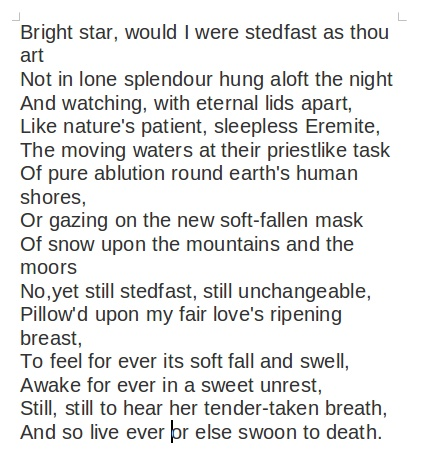analysis of the poem bright star Definition of bright star would i were steadfast as thou art – our online dictionary has bright star would i were steadfast as thou art information from poetry for students dictionary.
