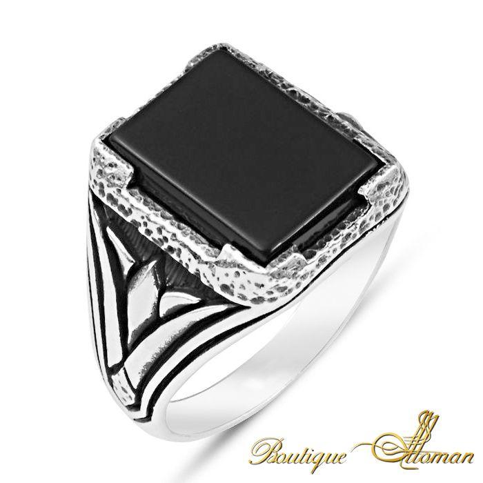 #ottoman 925 Silver Man Rings Onyx Square  #jewelry #ottoman