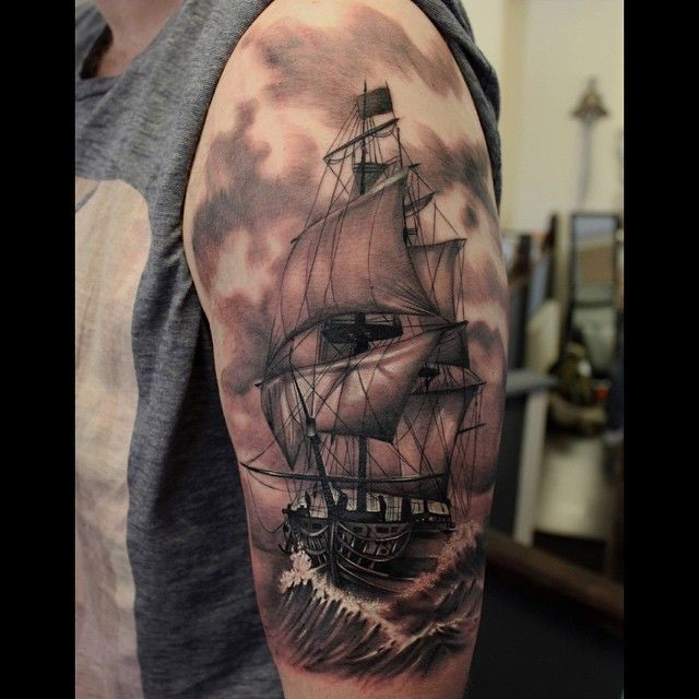 Yesterday's piece start of a #sleeve #tattoo #tattooart #tattooartist #tattoodesign #boat #sea ...