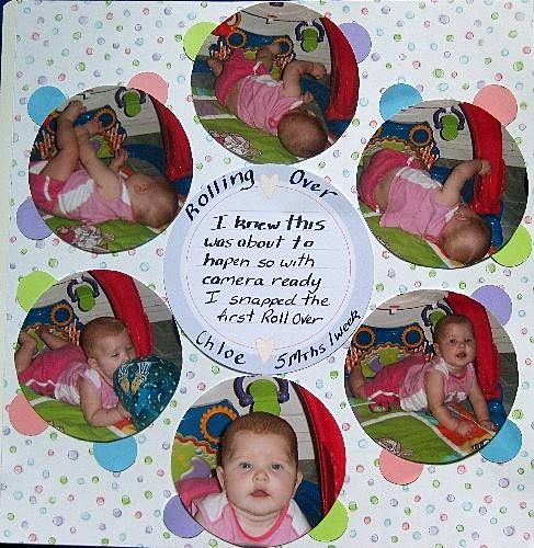 Circle rolling over scrapbook layout