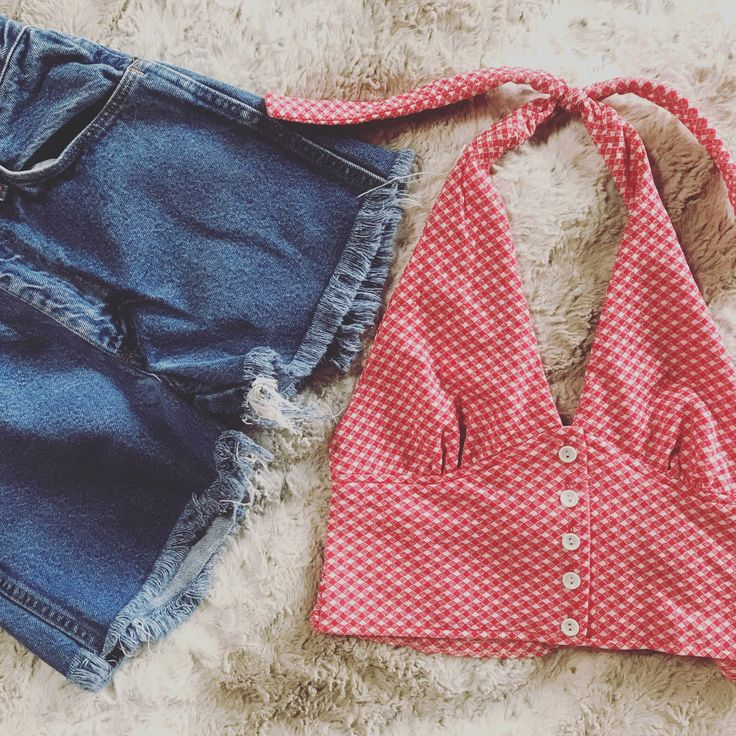 Adding some new vintage to the shop!#retro #vintage #croptop #haltertop #denimcutoffs #jean #shorts