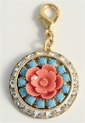 Coral and Crystal Flower Charm Enhancer by John Wind Jewelry of Maximal Art
