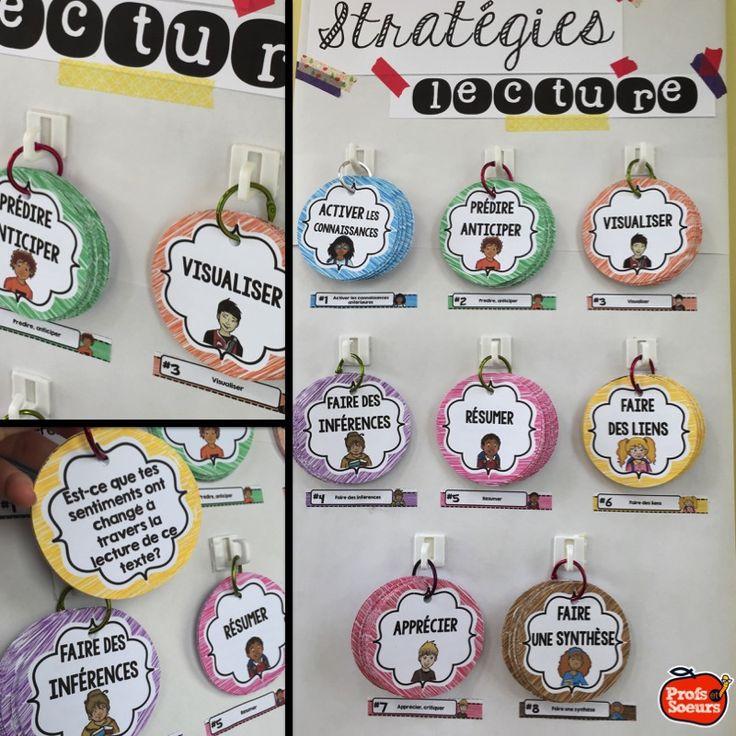 Les stratégies de compréhension sont affichées au mur et disponibles pour consultation. Par Profs et Soeurs