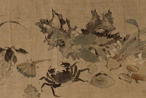 (Korea) 기명절지도 by Owon Jang Seung-eop (1843- 1897). color on hanji.
