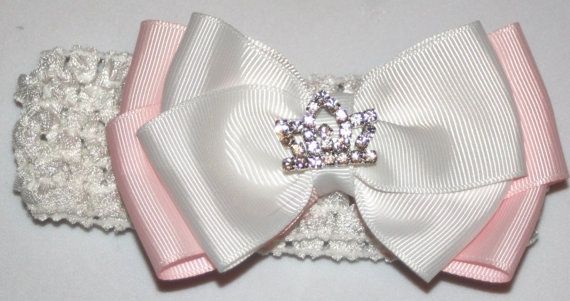 Princess Princess Bow Princess Party Pink and White by bowsforme, $7.50Princesses Bows, Princesses Princesses, Bows Princesses, Princess Party, Princesses Parties