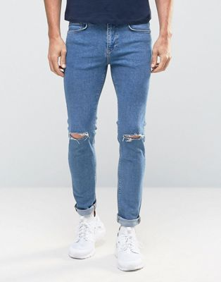 Голубые облегающие джинсы с рваными коленками New Look