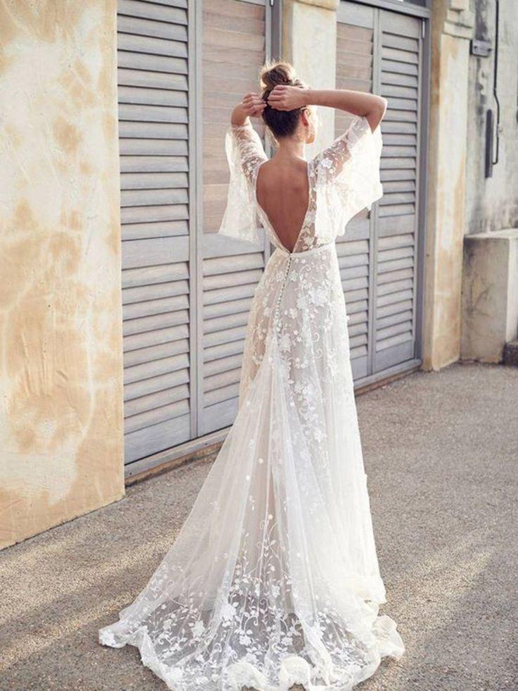 Långärmad bröllopsklänning, bröllopsklänning, sexig snörbröllopsklänning, backless brudklänning, boho boho silkbröllopsklänning 0096