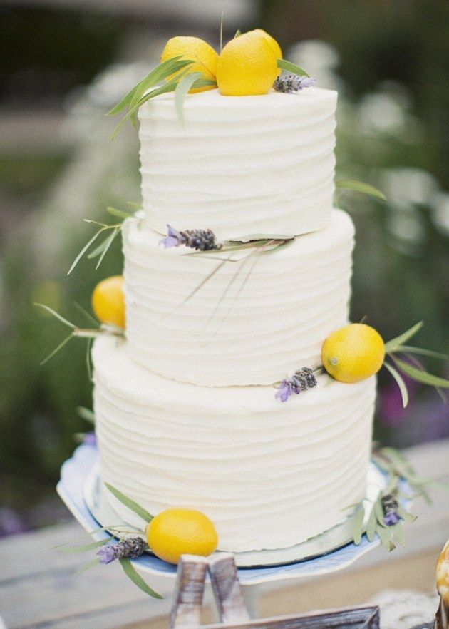 Wedding Cake With Lemons and Lavender