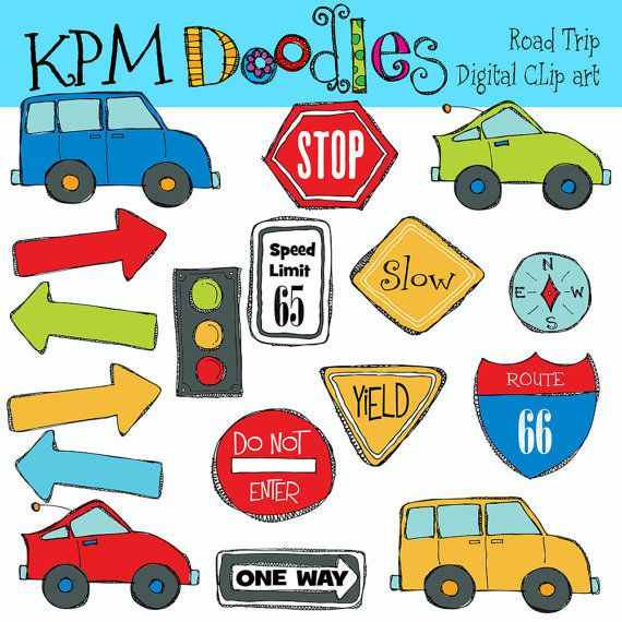 KPM Road Trip Digital Clip Art and stamps COMBO