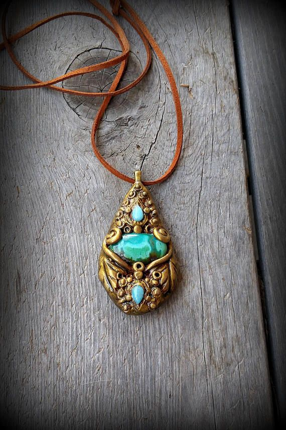 Turquoise Spiral Teardrop Boho Necklace Gemstone Pendant Polymer Clay Crystal Hippie Jewelry Metaphysical Stone Pagan Pendant Gift