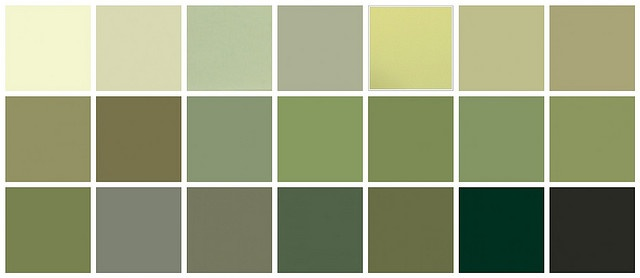 Farrow & Ball Paint: Green Colors Top row, left to right: Tunsgate Green, Green Ground, Stone White, Vert de Terre, Churlish Green, Cooking Apple Green, Ball Green. One of these (along with a cream) for the hall/stairs/landing...