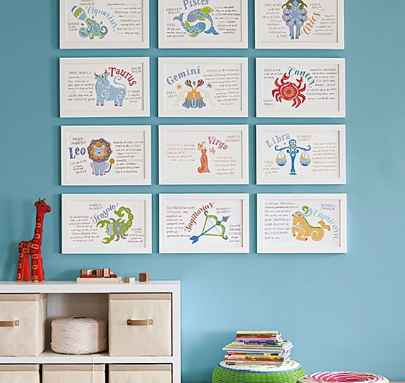 Zodiac Art Prints: Wall Art, Zodiac Signs, Artworks Ideas, Zodiac Art, For Kids, Kids Spaces, Families Signs, Kids Rooms, Baby Stuff